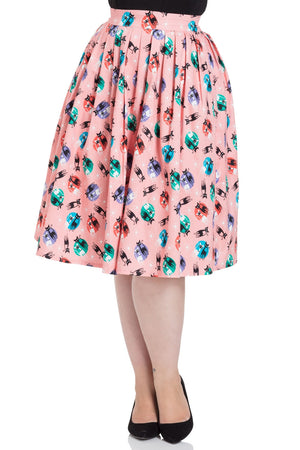 Pink Retro Kitty Cat Atomic Print Skirt