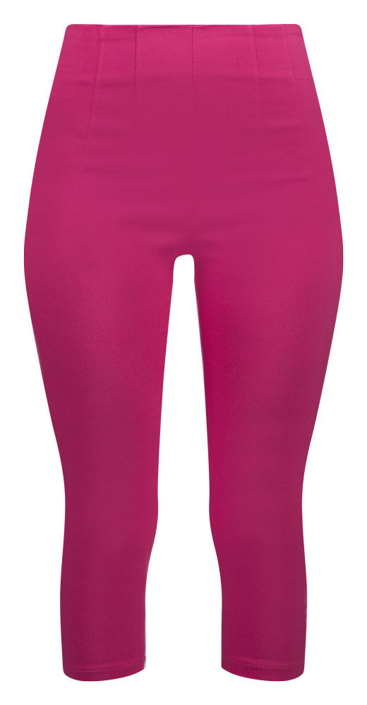 Retro Gal High Waisted Pinup Capris in Fuschia Pink