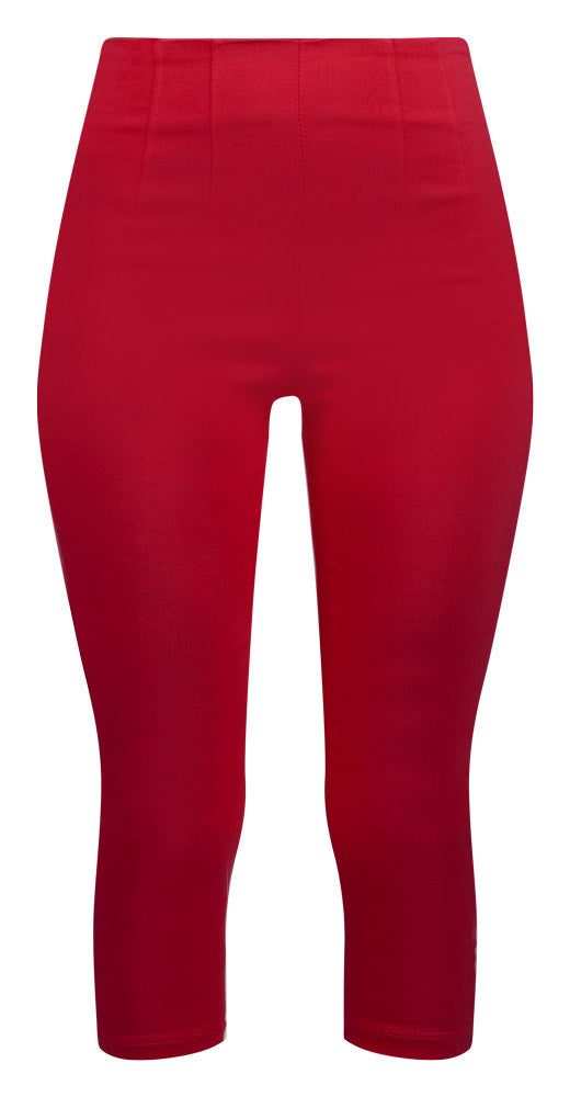 Retro Gal High Waisted Pinup Capris in Red
