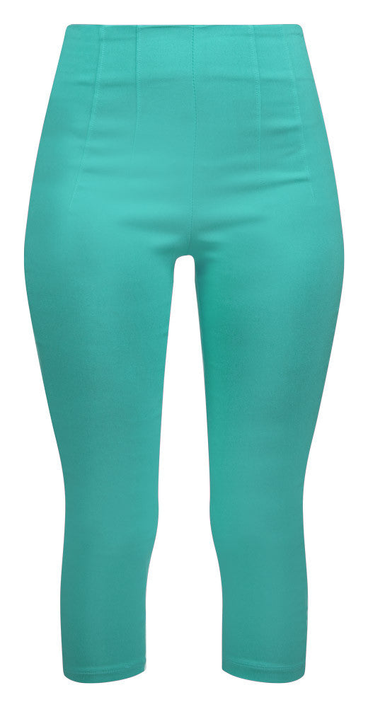 Retro Gal High Waisted Pinup Capris in Mint