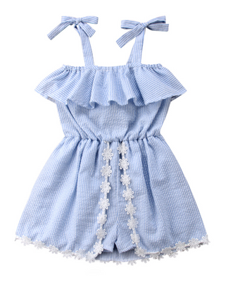 Retro Inspired Kids Romper in Blue & White Stripe