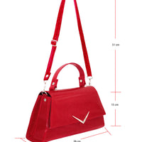 Rumbler Cadi Handbag in Red Sparkle (with crossbody strap)