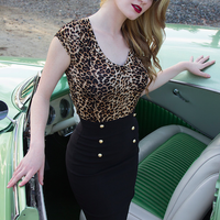 Retro Glam High Waisted Pin Up Pencil Skirt in Black
