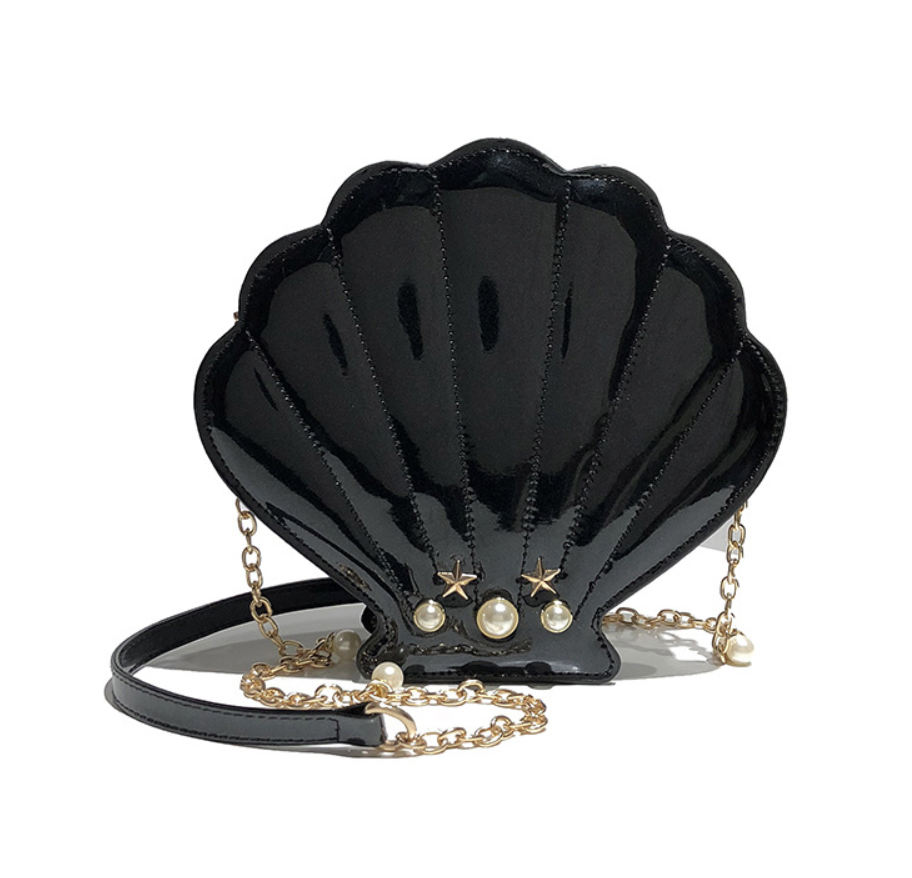 Sea Shell Mermaid Crossbody Handbag in Black Patent