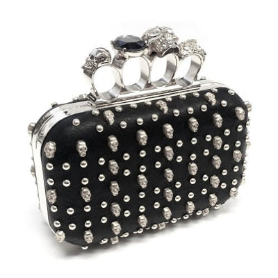 silver black skull studded clutch handbag, clasp closure, detachable chain strap, skull knuckle rhinestone handle, punk rock, alternative, gothic, goth, metal