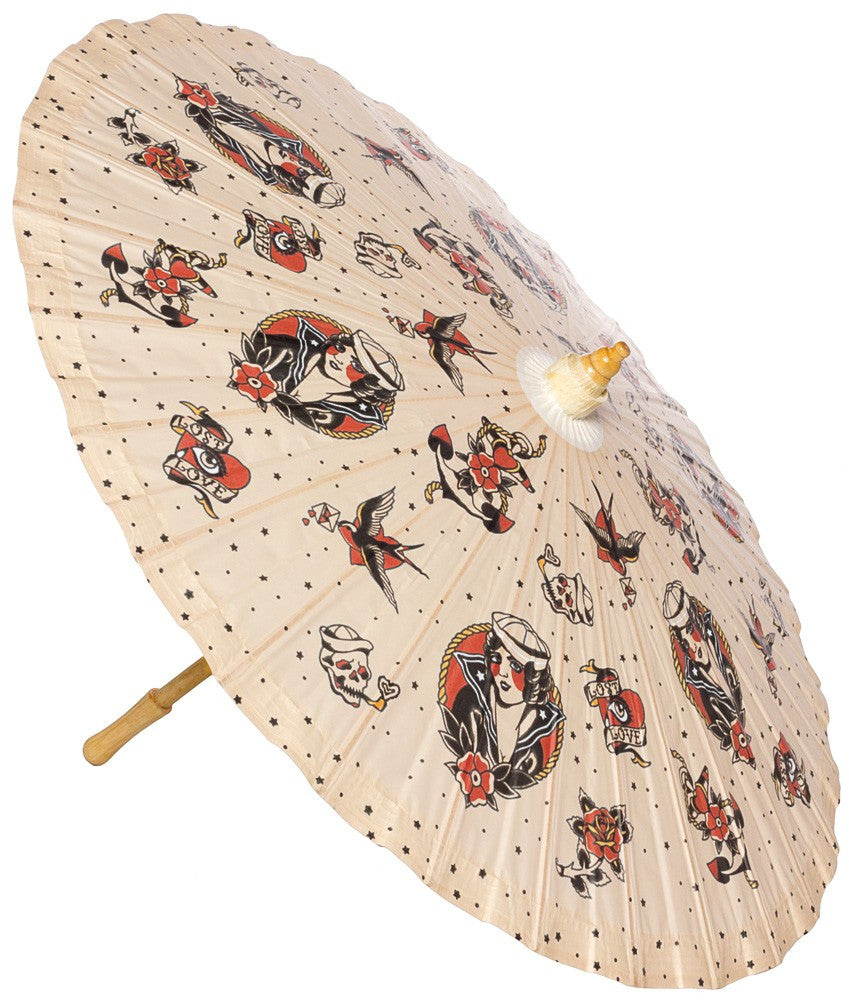 Traditional Tattoo Lost Love Parasol by Sourpuss