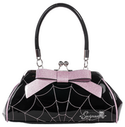 Spiderweb Kiss Lock Floozy Purse in Black & Pink Sparkle