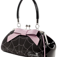Black & Pink Sparkle Spiderweb Kiss Lock Floozy Purse