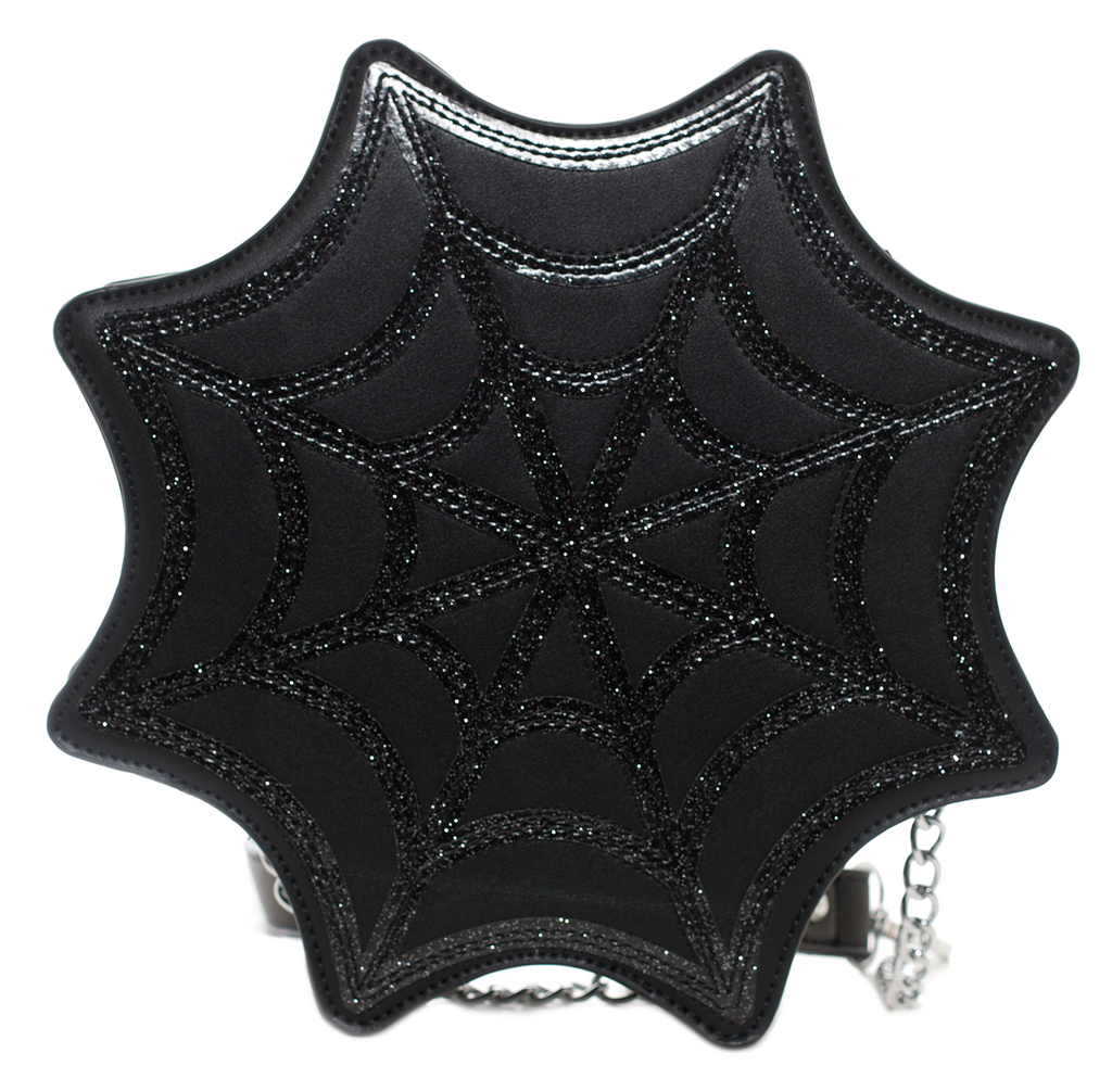 Black Spiderweb Sparkle Crossbody Purse by Sourpuss