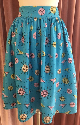Blue Atomic Sputnik Swing Skirt