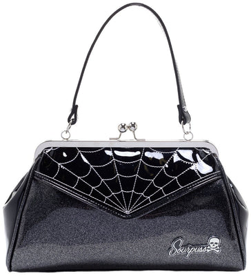 Spider Web Backseat Baby Purse in Black & Silver by Sourpuss