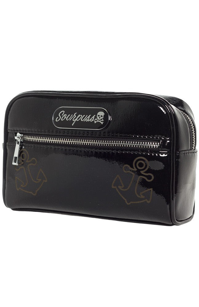 Sourpuss Betsy Anchor Makeup Bag in Black