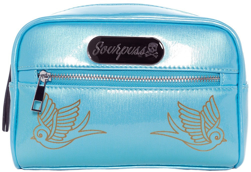 Sourpuss Sparrow Betsy Makeup Bag in Turq