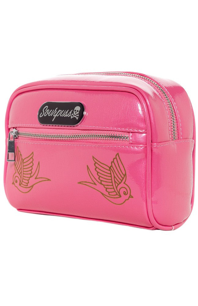 Sourpuss Sparrow Betsy Makeup Bag in Gumball Pink