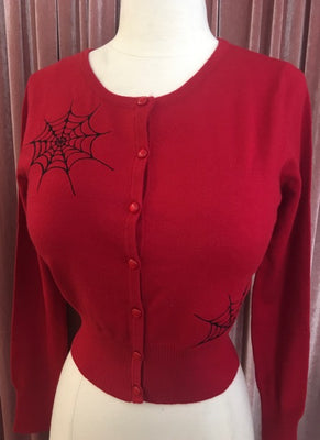 Ghoul Gal Spiderweb Cardigan in Red