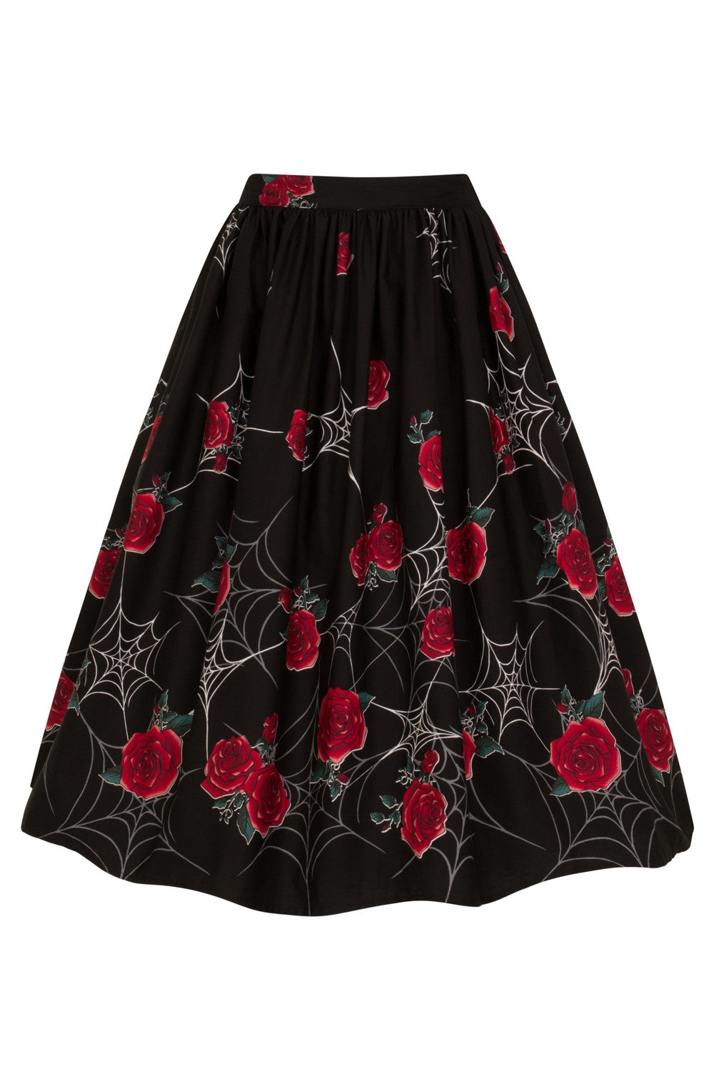 Webs And Roses Sabrina 50s Gathered Swing Skirt Double Trouble Sleeves