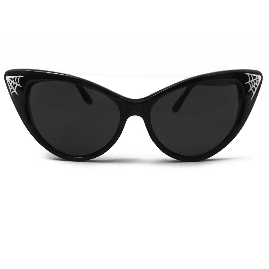 Black Pinstriped Spider Web Classic Cat Eye Sunglasses