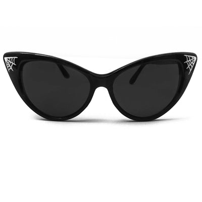 Pinstriped Spider Web Classic Cat Eye Sunglasses
