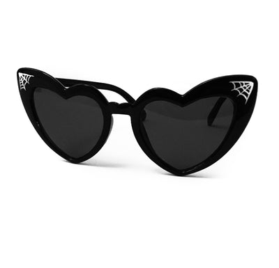Pinstriped Spider Web Heart Shaped Cat Eye Sunglasses in Black