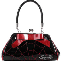 Spiderweb Kisslock Handbag in Black & Red