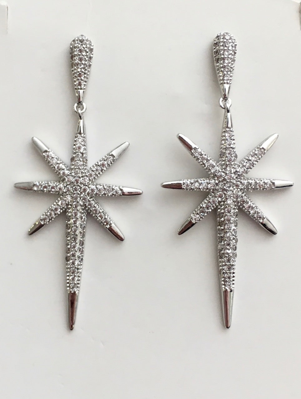 Silver Atomic Starburst Retro Drop Earring
