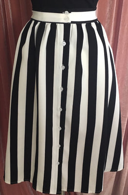 striped black and white swing skirt pinup girl retro barbie goth beetlejuice horror style clothing