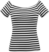 Striped Marilyn Scoop Neck Top in Black & White
