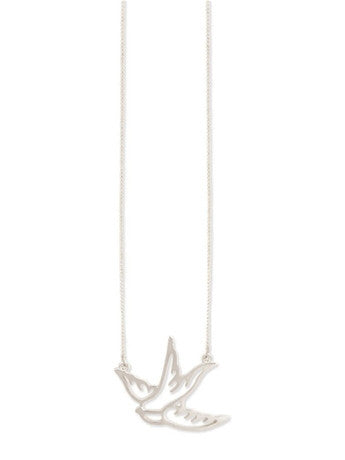 Mini Swallow Necklace in Silver