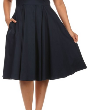 Classic Style Retro Swing Skirt with Pockets in Black