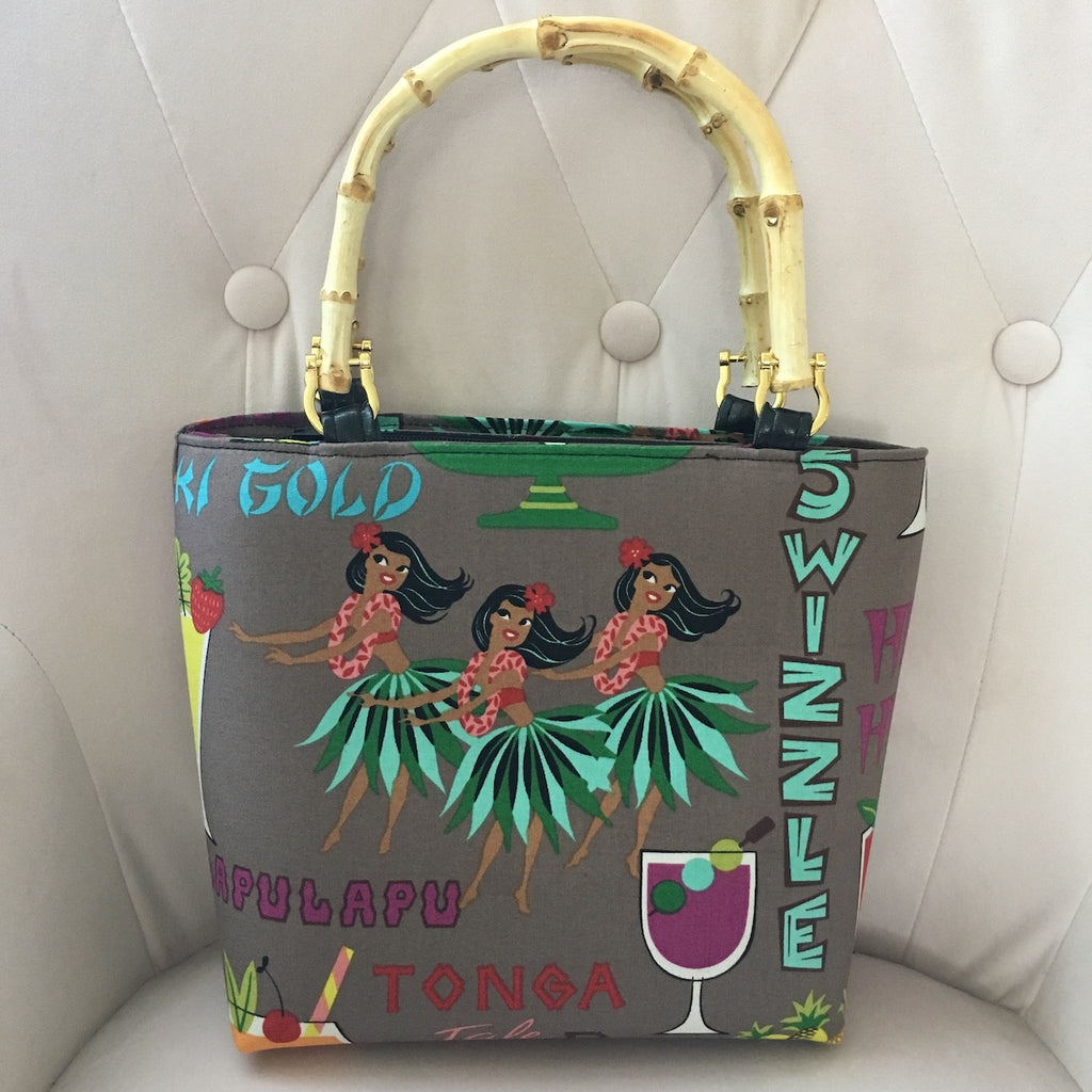 Hula Girls and Tiki Drinks Bamboo Handbag
