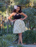 Retro Atomic Tiki Swing Skirt in Green