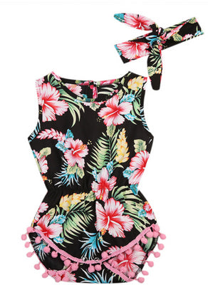 Tropical Baby Romper in Hibiscus Floral Print