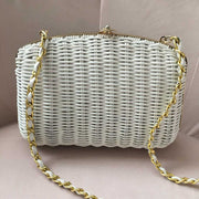 White Wicker Vintage Crossbody Clutch Handbag