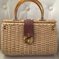 Tan Vintage Double Sided Wicker Bag with Tortoise Handle