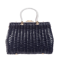 Wicker Style Handbag in Navy Blue Rattan