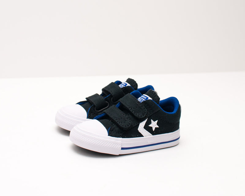 ZAPATILLA DE NIÑO Y NIÑA - CONVERSE - 766953C STAR PLAYER 2V CANVAS OX BLACK RUSH BLUE WHITE