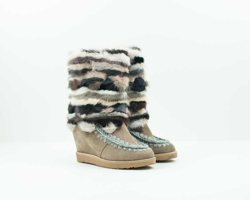 BOTA - MOU - FRENCH TOE WEDGE MINK TRIM DKST