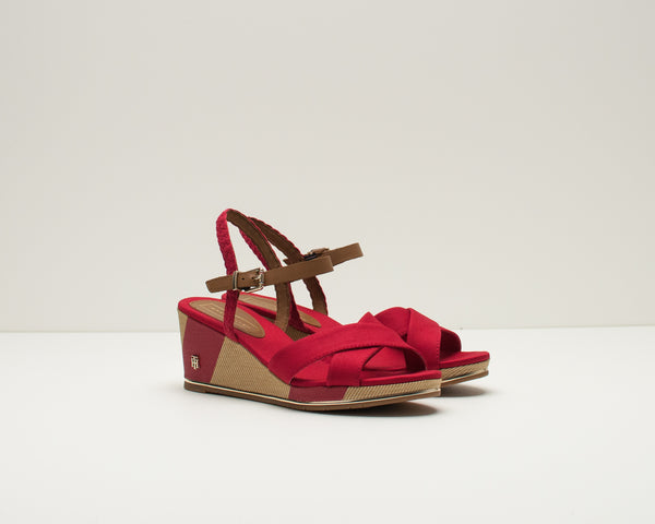 SANDALIA - TOMMY HILFIGER - FW0FW03933 PRINTED MID WEDGE SANDAL 611 TANGO RED
