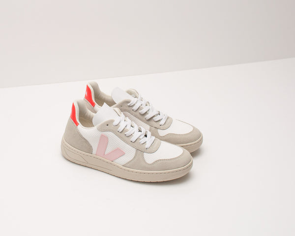 ZAPATILLA - VEJA - V-10 B-MESH WHITE PETALE ORANGE FLUO VX012142