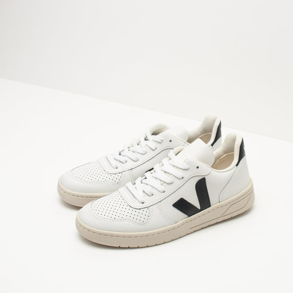 ZAPATILLA - VEJA - V-10 LEATHER EXTRA WHITE BLACK VX020005