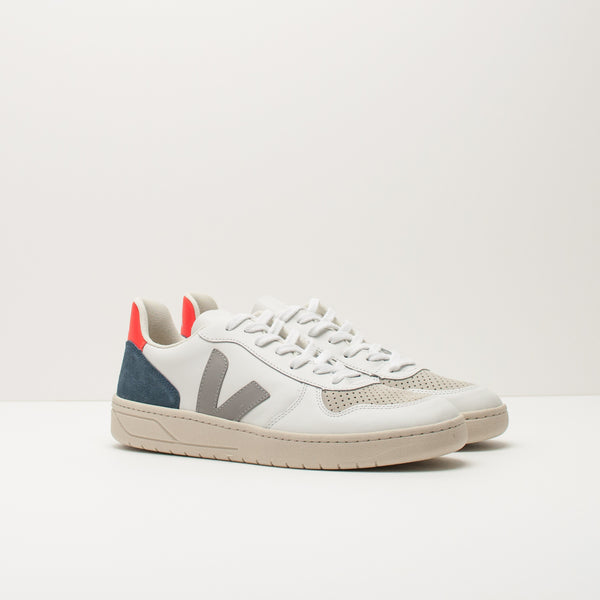 ZAPATILLA - VEJA - V10 LEATHER EXTRA WHITE OXFORD GREY ORANGE VX022303