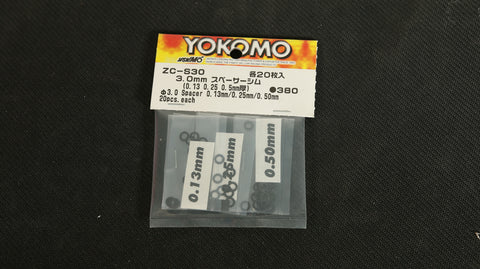 Yokomo Alu. Spacere 3mm 0.13mm/0.25mm/0,50mm ZC-S30