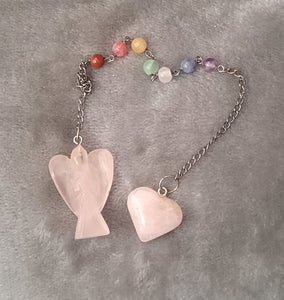 Rose Quartz Angel Pendulum