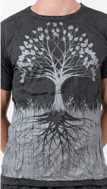 Men's Tree of Life T-Shirt, Silver on Grey/Black