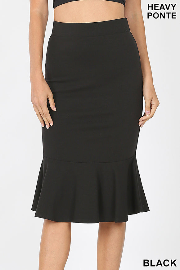 Ponte Mermaid Hem Pencil Skirt
