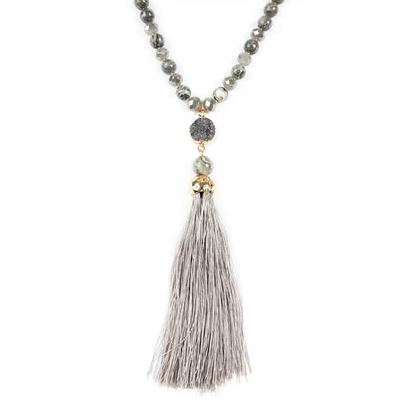 Tassel Druzy Necklace, Grey