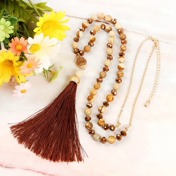 Tassel Druzy Necklace, Brown
