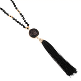 Stone Charm Tassel Necklace