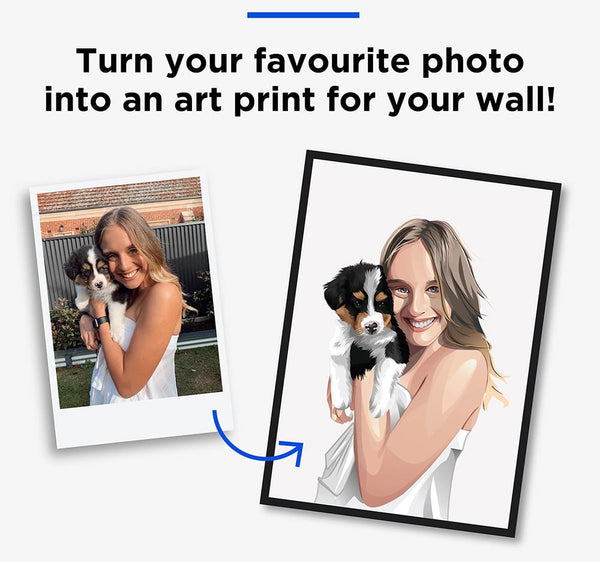 human and pet portrait before and after