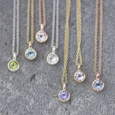 Gold Gemstone Solitaire Pendants, from £130